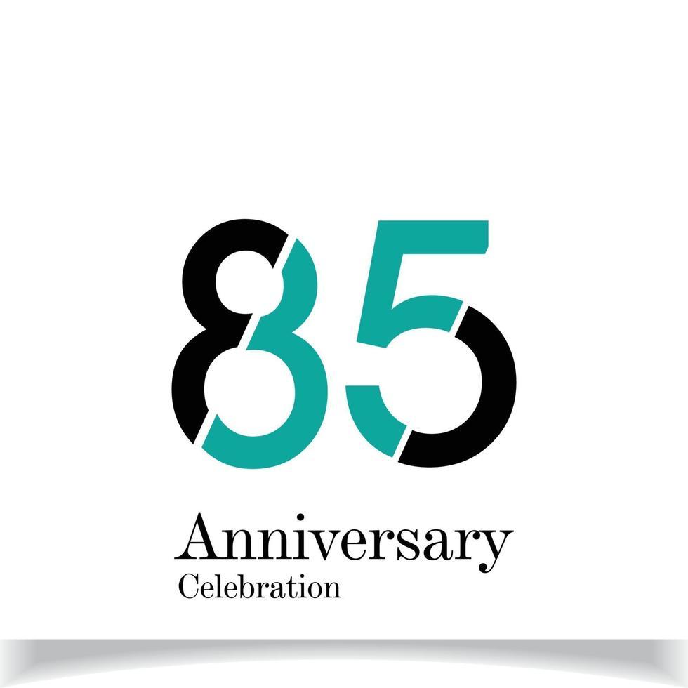 85 Jahre Jubiläumsfeier blaue Farbvektorschablonen-Designillustration vektor