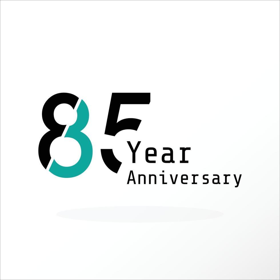 Illustration för design för mall för färg för vektor för 85-årsjubileum för blått