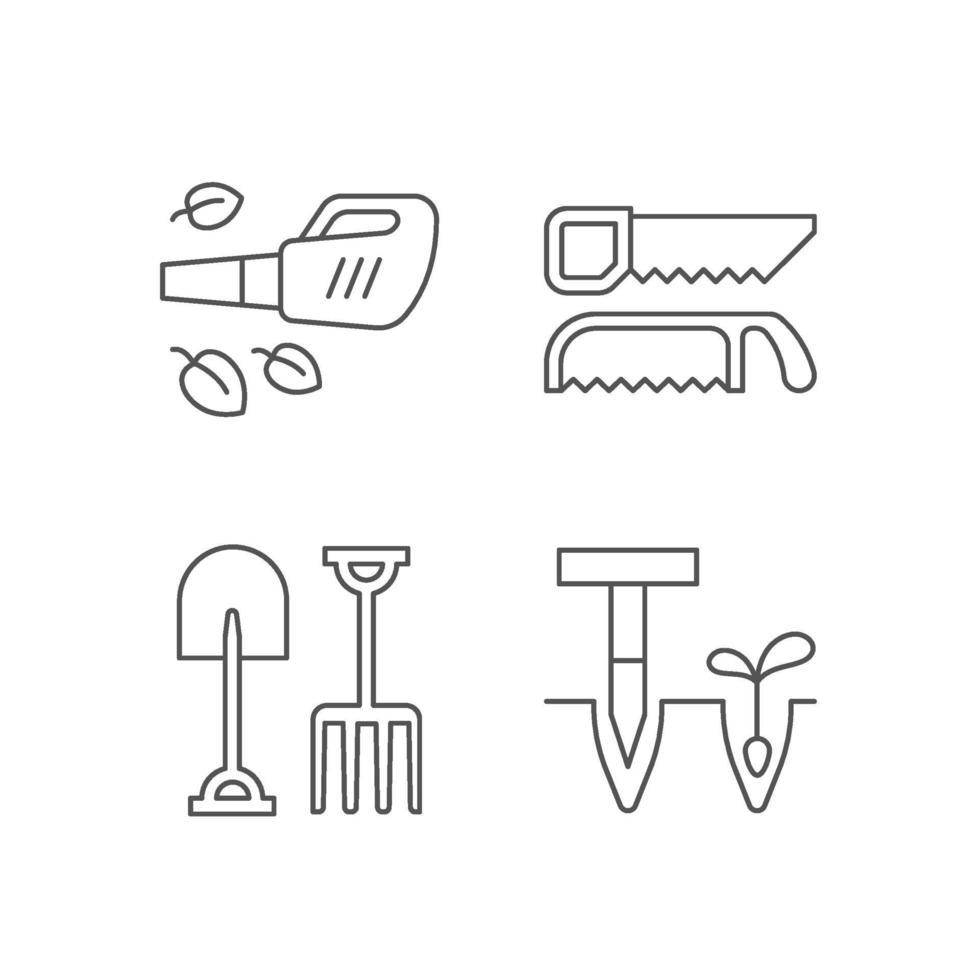 trädgårdsinstrument linjära ikoner set vektor