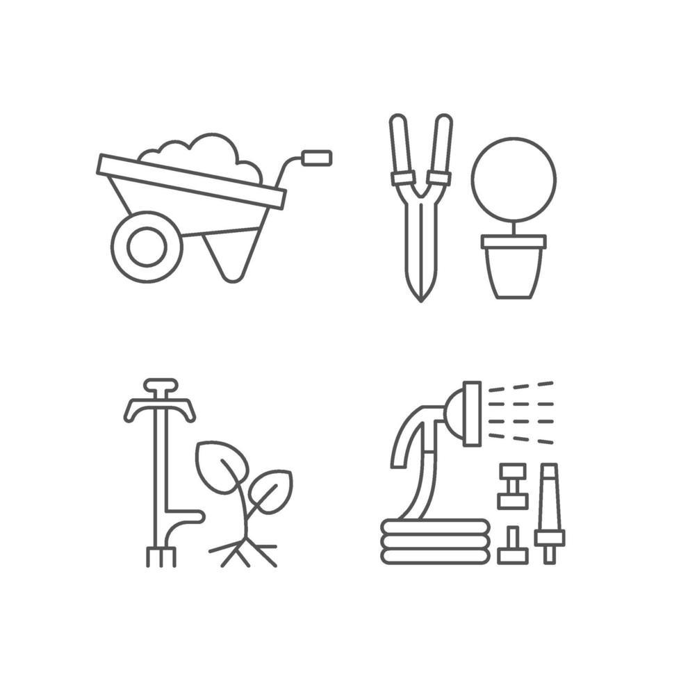 trädgårdstillbehör linjära ikoner set vektor