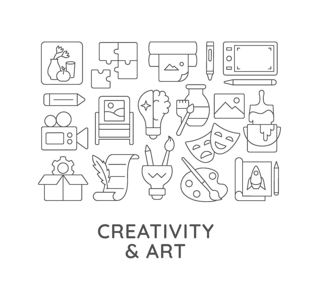 kreativitet och konst abstrakt linjär konceptlayout med rubrik vektor