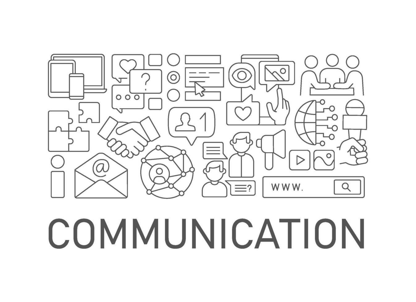 kommunikation abstrakt linjär konceptlayout med rubrik vektor