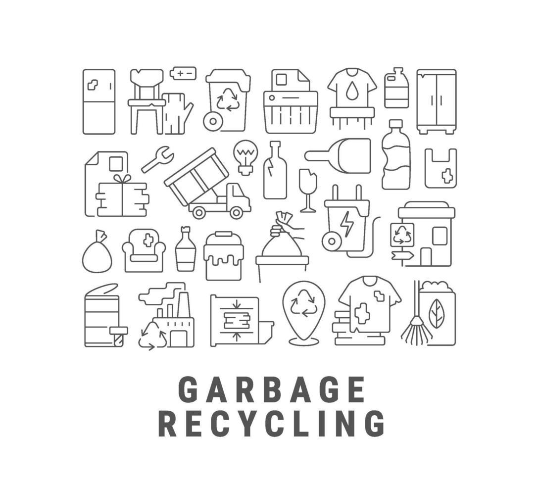 abstraktes lineares Konzeptlayout des Müllrecyclings mit Überschrift vektor