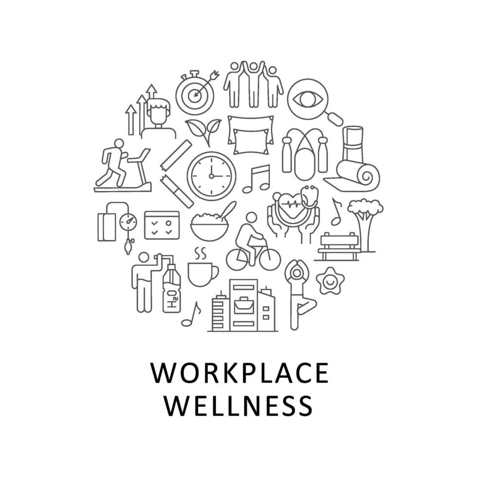arbetsplats wellness abstrakt linjär konceptlayout med rubrik vektor