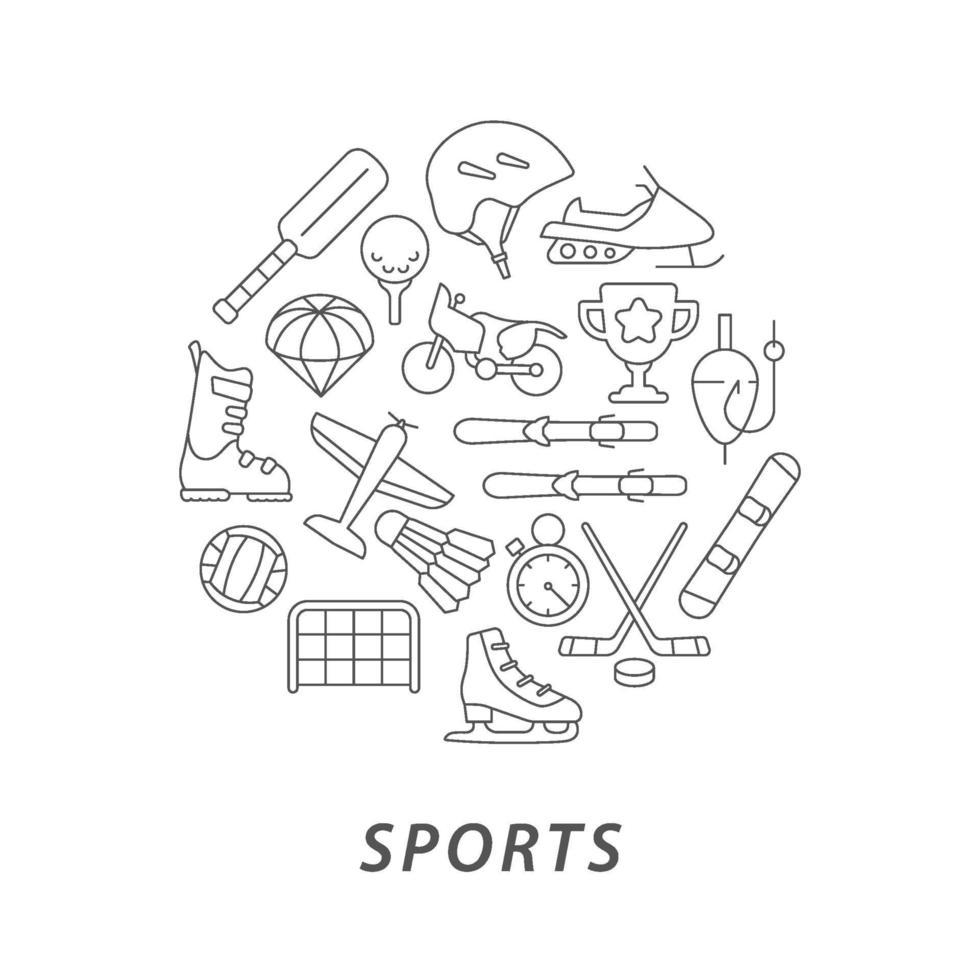 Sport abstraktes lineares Konzept Layout mit Überschrift vektor