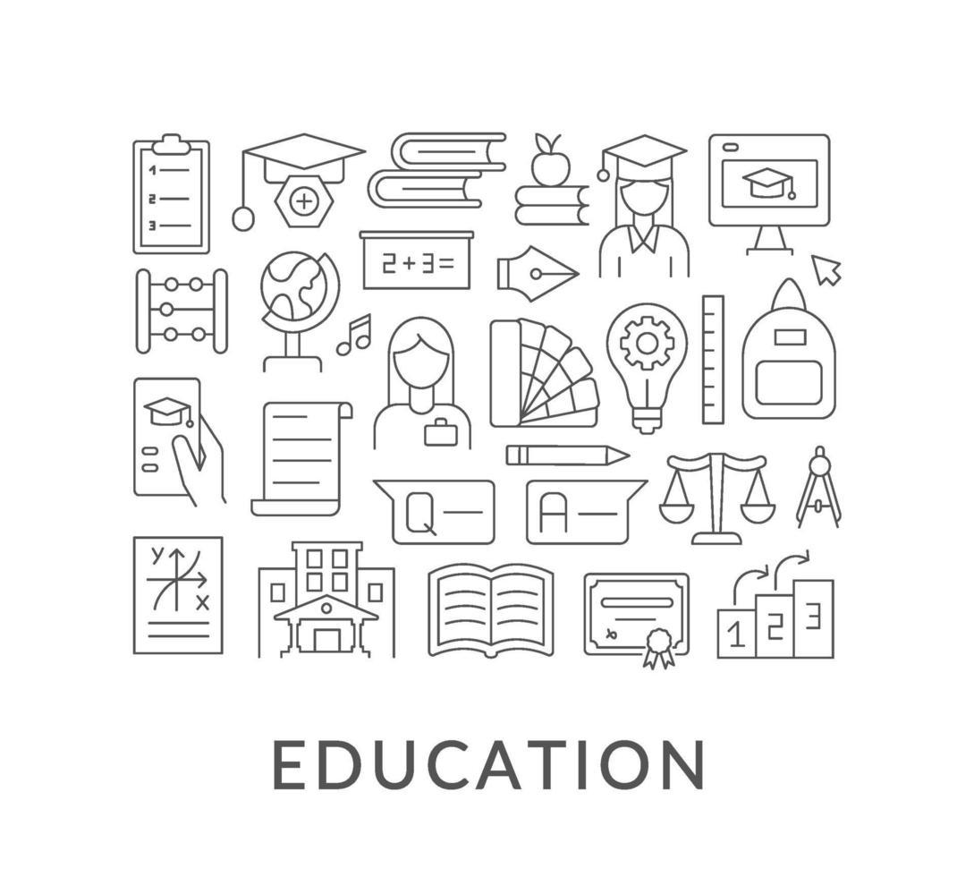 utbildning abstrakt linjär konceptlayout med rubrik vektor