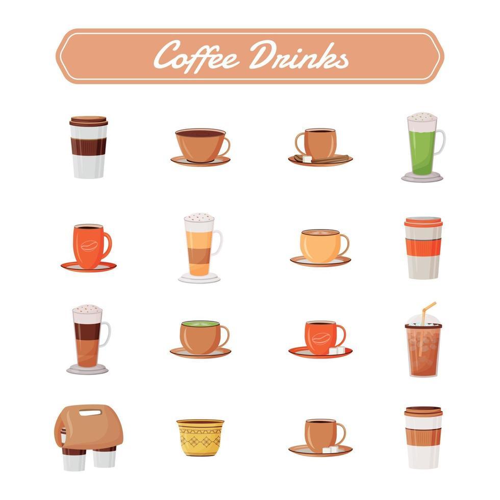 kaffe drycker platt färg vektor objekt set.