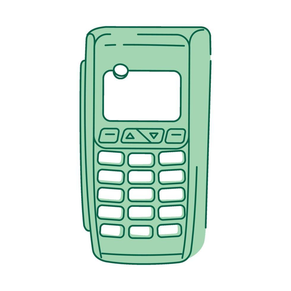 NFC-Gerät, Zahlungsterminal grünes lineares Objekt vektor