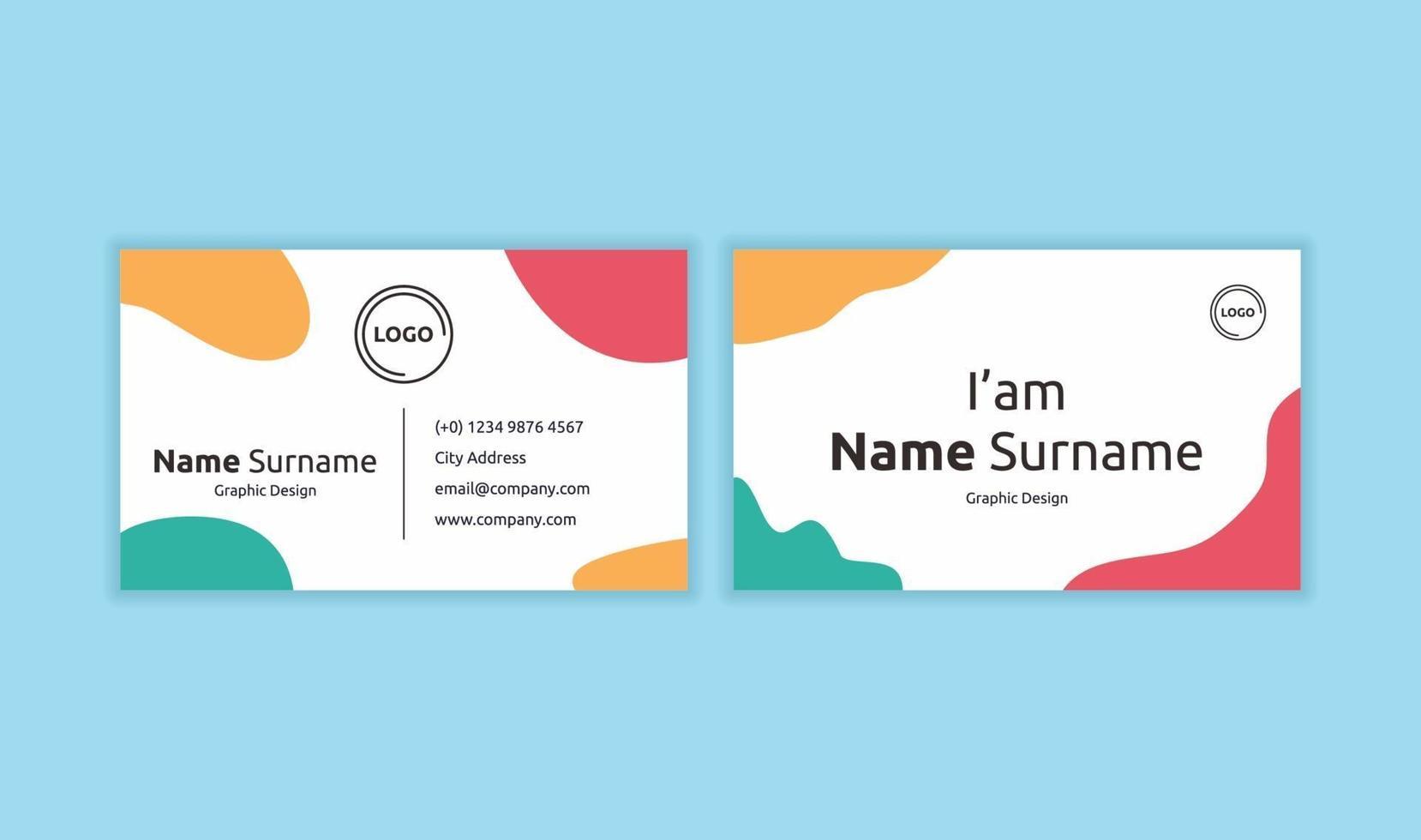 vacker visitkortsmall redo att skriva ut med pastellfärg. kreativa visitkort koncept med plats för logotyp eller foto. platt enkel design av visitkort vektorillustration vektor