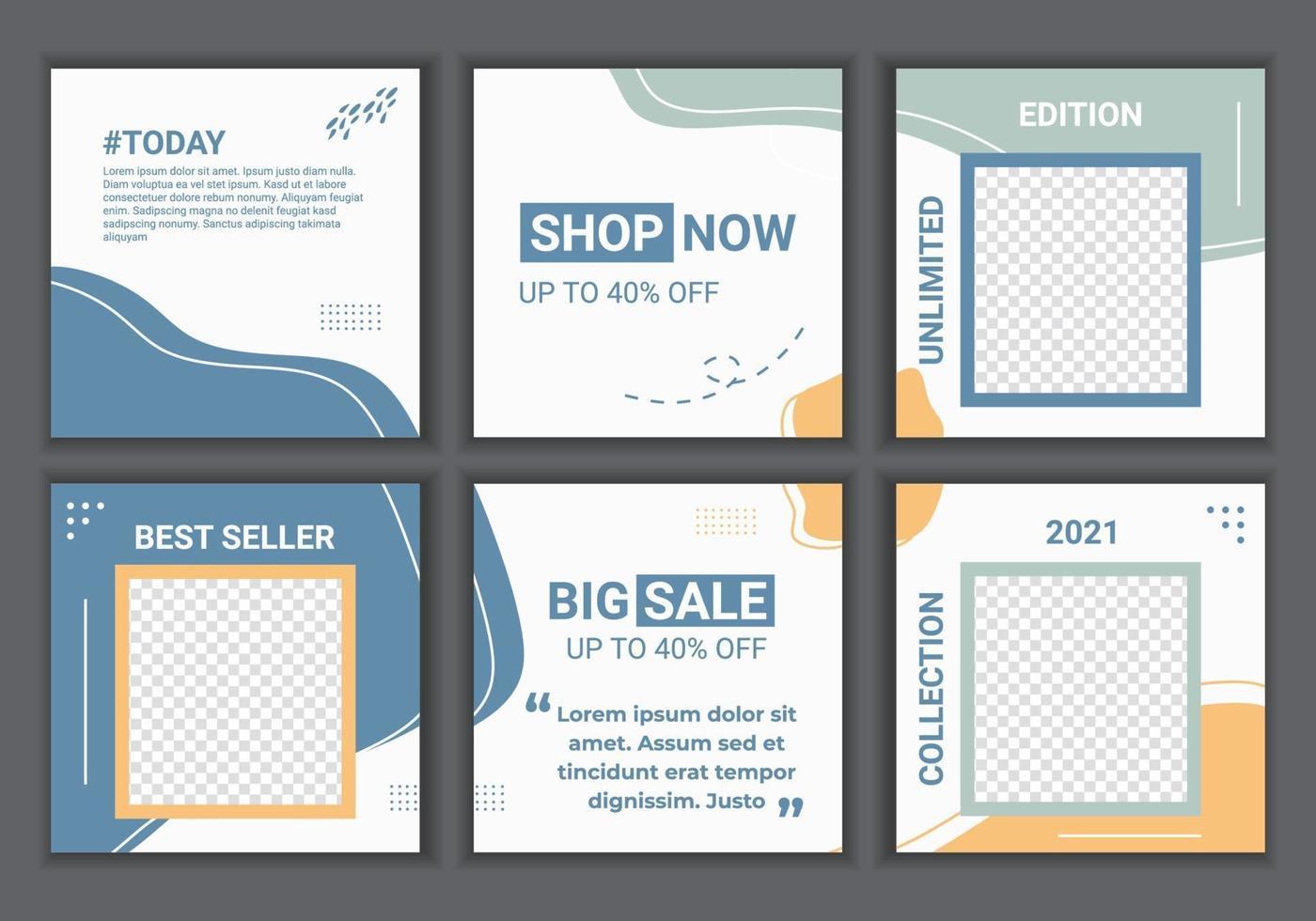 pastellfärgade sociala medier postar mallar med plats för foto. abstrakta bakgrunder i minimal stil med blå och orange pastell för mobilappar, försäljningswebbanners. vektor illustration