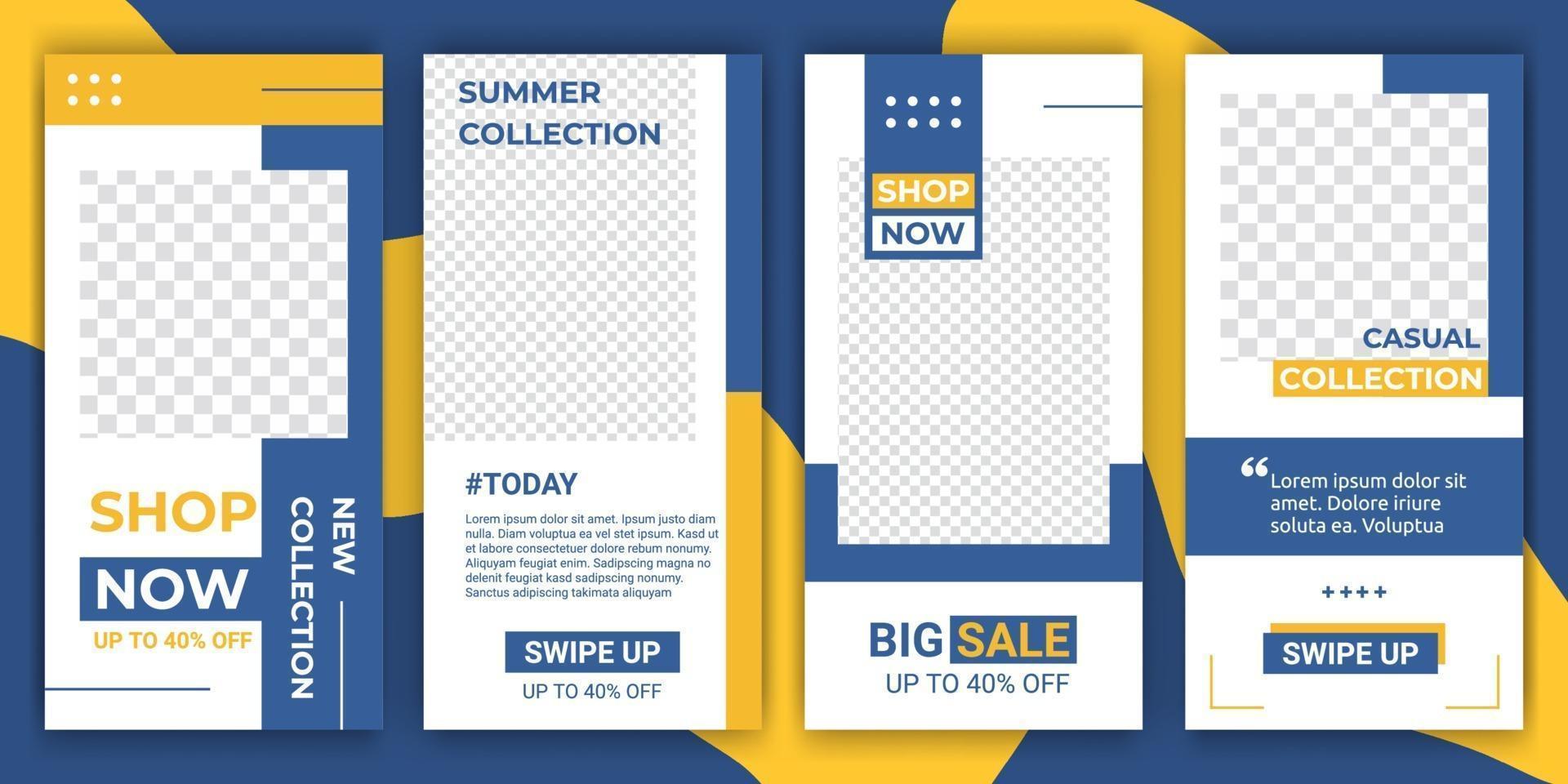 uppsättning ig-berättelser och mallar för inläggsramar. mockup för personlig blogg eller butik. design bakgrunder för sociala medier banner för mode, marknadsföring eller reklam banner. vektor illustration