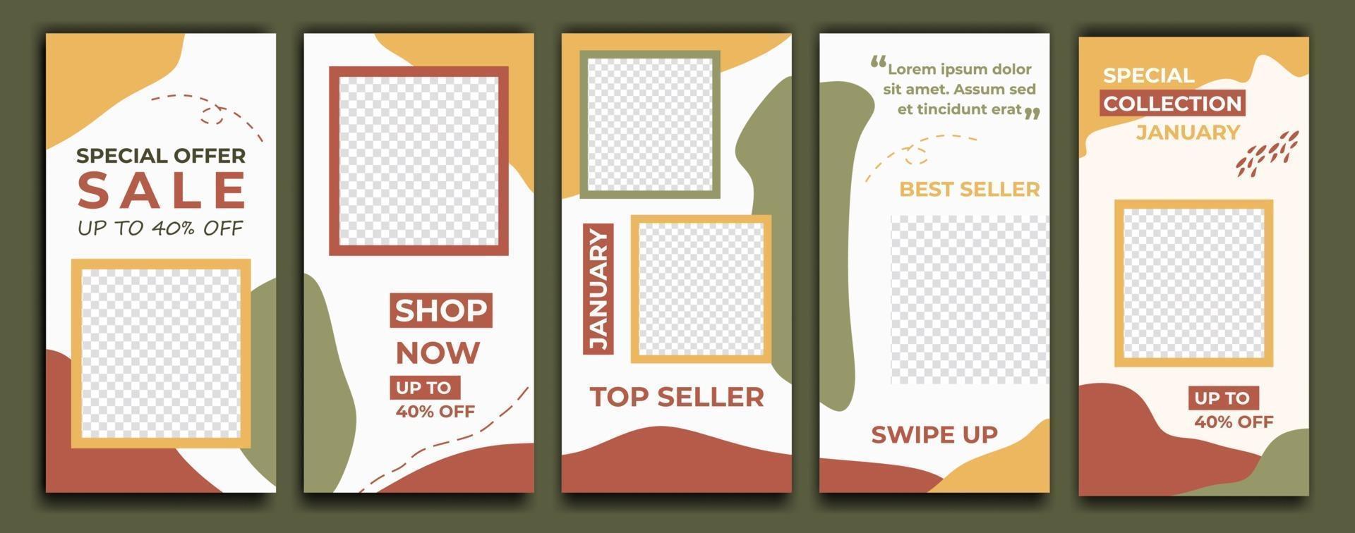 berättelsemall för sociala medier för sociala medier. paket för att skapa ditt unika innehåll. trendig redigerbar mall för berättelser för sociala nätverk, vektorillustration. marknadsföring mode mode. vektor