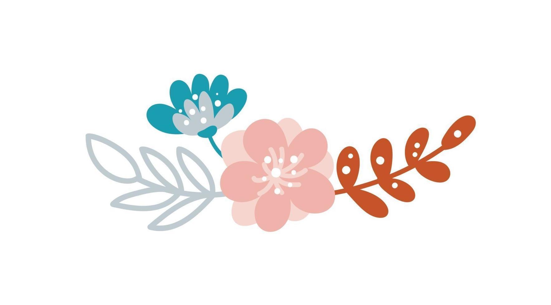 sommarbukettvektorblommor skandinavisk isolerad illustration. gren av vårblomma. äng ört. handritad doodle bläck skiss. färgdesign på vit bakgrund vektor