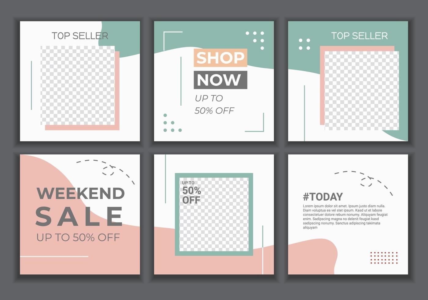 Editierbares Vorlagendesign für Social Media-Feeds mit sanfter rosa und blauer Farbe. abstrakter minimaler Pastellfarbenhintergrund für soziale Netzwerkbeiträge, Webbanner, Hochzeitskarten. Puzzle füttern Beeren vektor