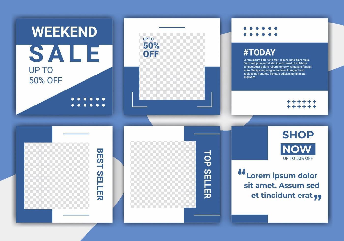ig pussel mode försäljning sociala medier post designmall med blå och vit färg. kreativ mall design för sociala medier webb banner och webb fyrkant banner. vektor illustration med foto college