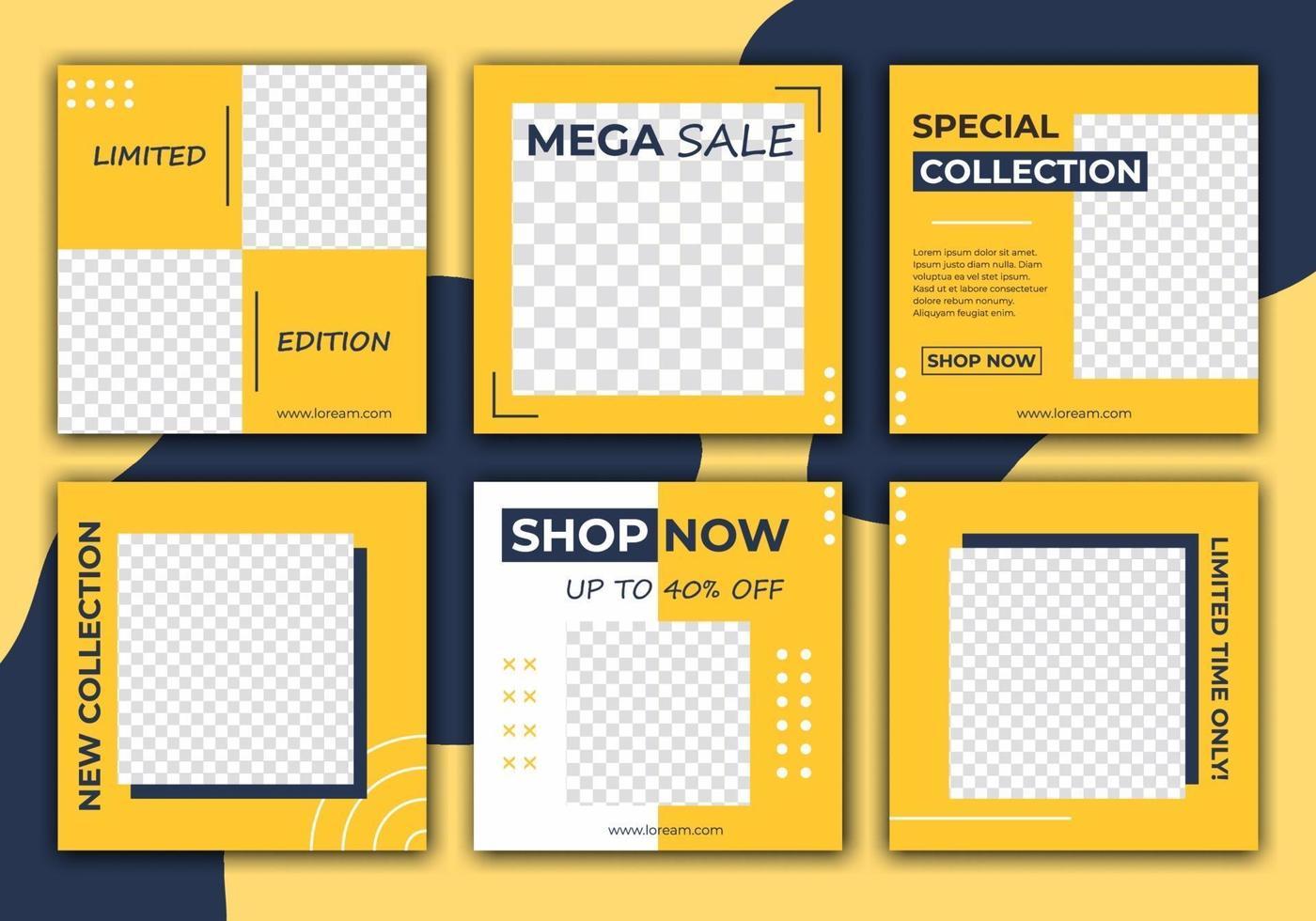 redigerbar mall för sociala medier. mörkblå och gul bakgrundsfärg med randlinjeform. vem som helst kan enkelt använda denna design. elegant försäljning och rabattkampanj. vektor illustration