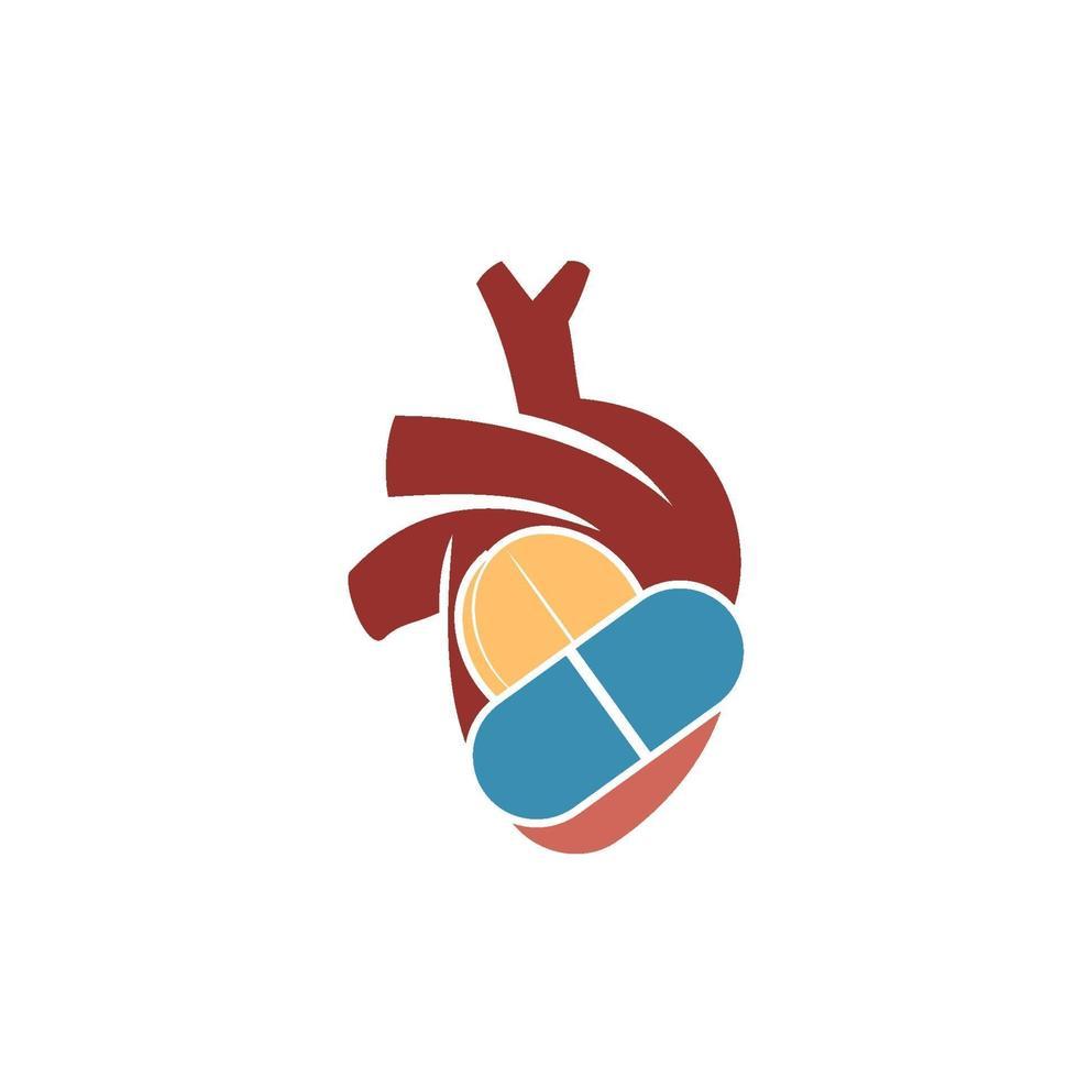 hjärtinfarkt risk vektor logo ikon design illustration