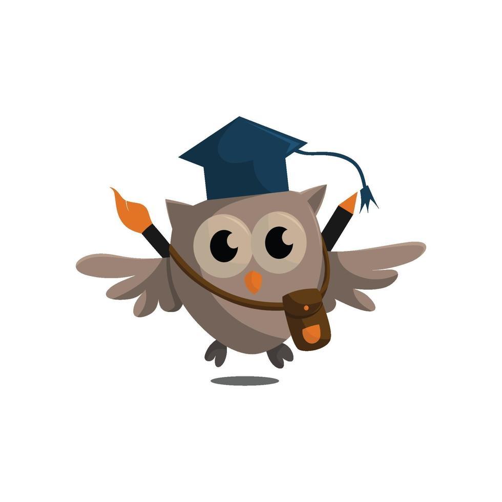 Uggla fågel mall design smart utbildning med Uggla symbol vektor