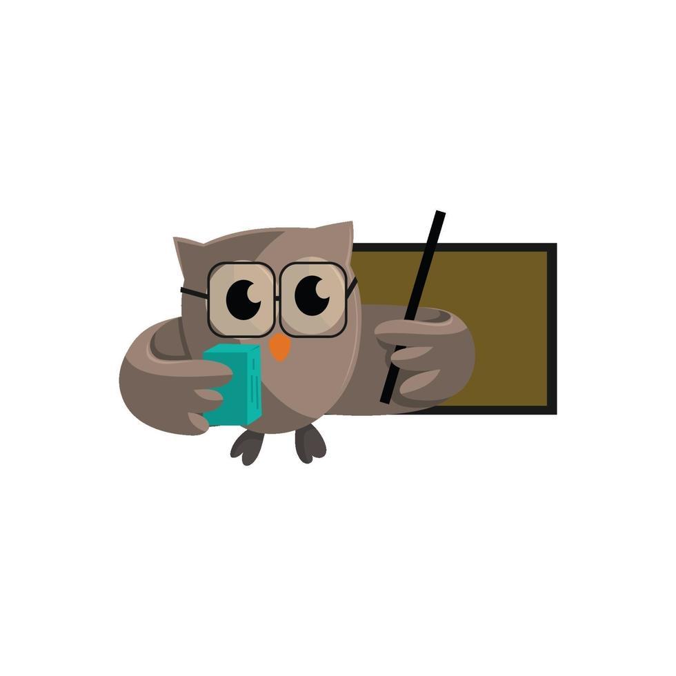 Uggelfågel ta med bok och peka på tomt bräde. mall design smart utbildning med ugglasymbol vektor