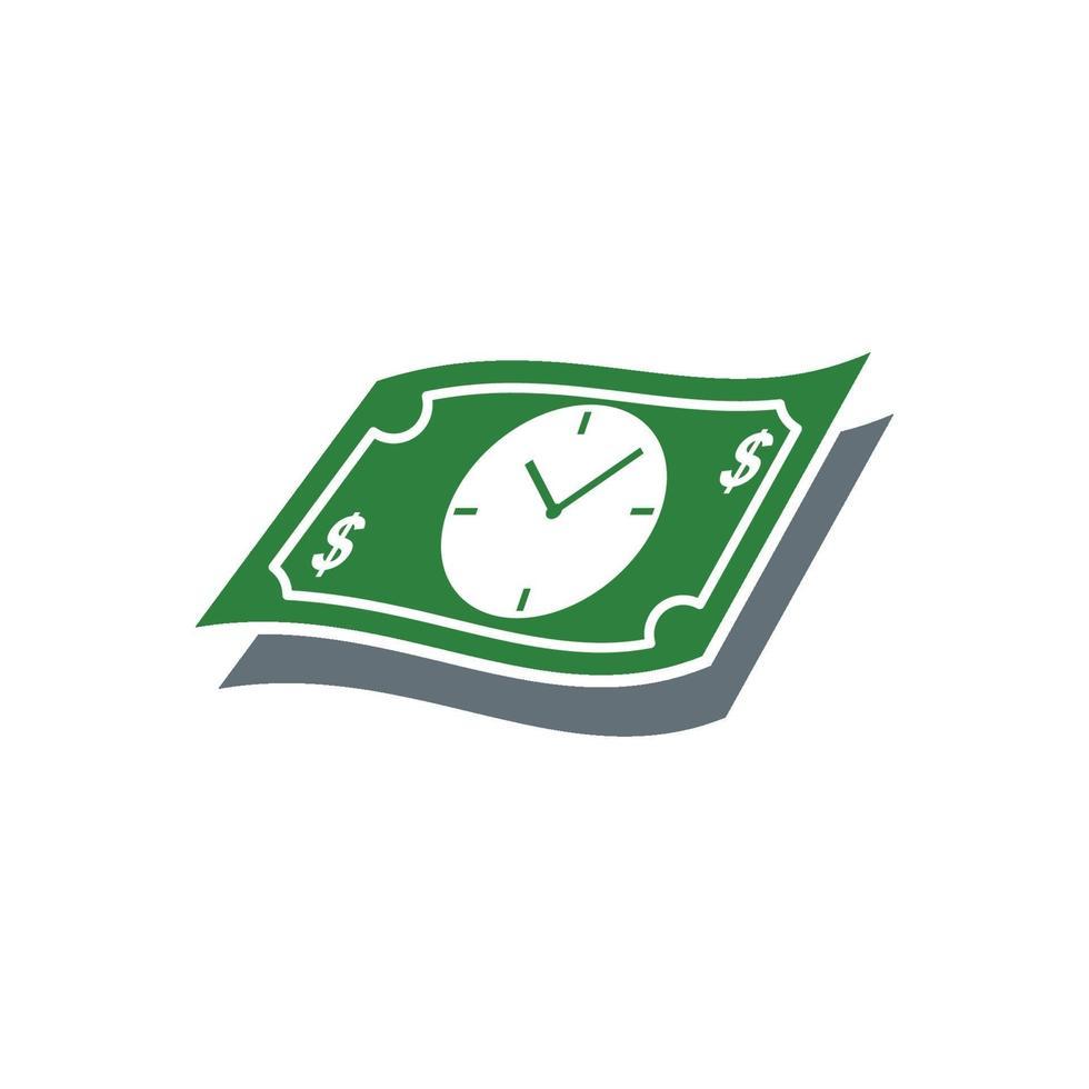 kontanter med klocka, lönedag koncept vektor isolerad illustration
