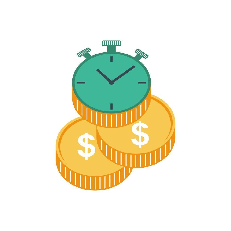 klocka med guldmynt, isolerade illustration för lönedagskonceptvektor vektor