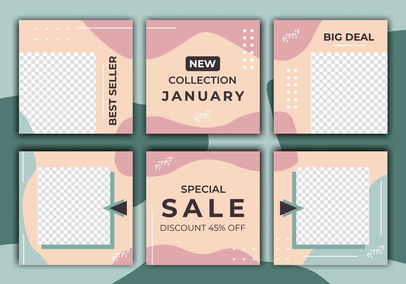 uppsättning försäljning banner mall design för sociala medier post. minimalistisk redigerbar vektorillustration på transparent bakgrund. sommarförsäljning. webbbannerannonser för marknadsföring av varumärkesmode vektor