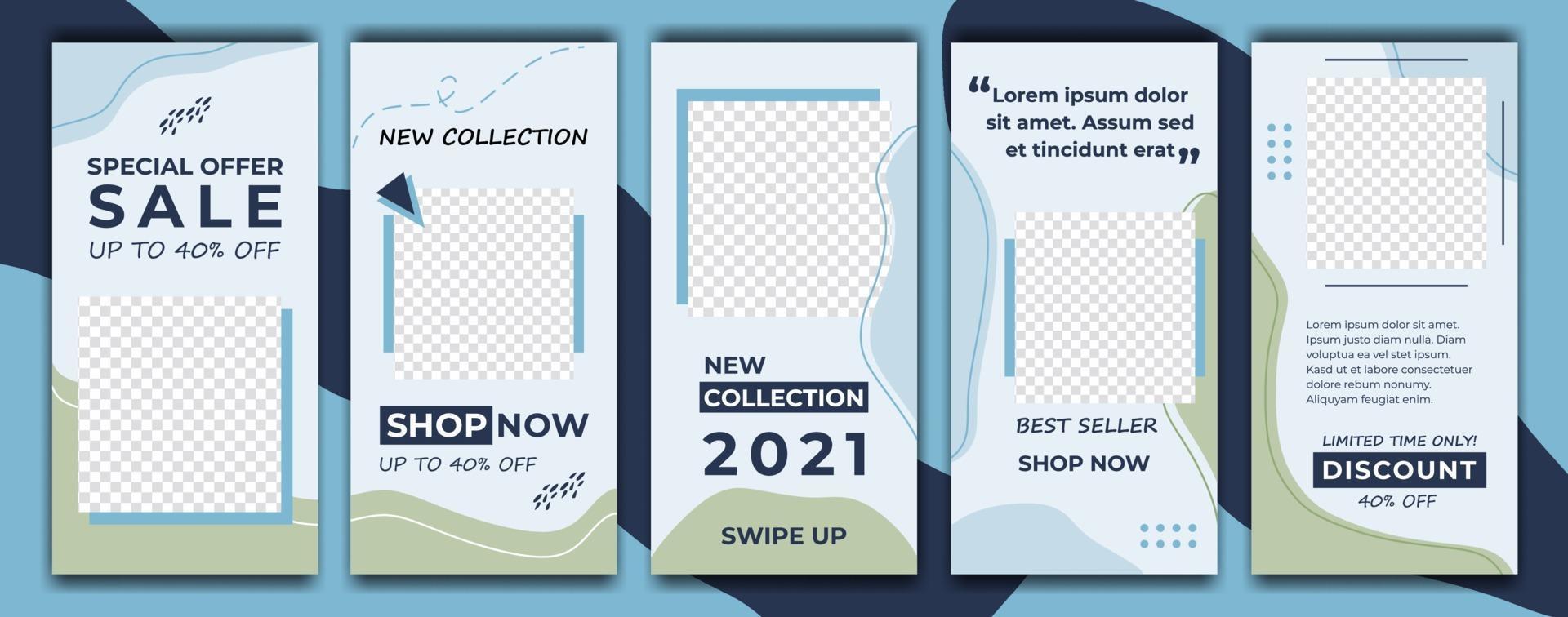 instagram berättelser försäljning banner mall med blå färg dekorativ stil bakgrund. sociala medier mall foto, årsskiftet försäljning kan användas för bakgrund, webbplats, affisch, flygblad, presentkort, webbdesign vektor