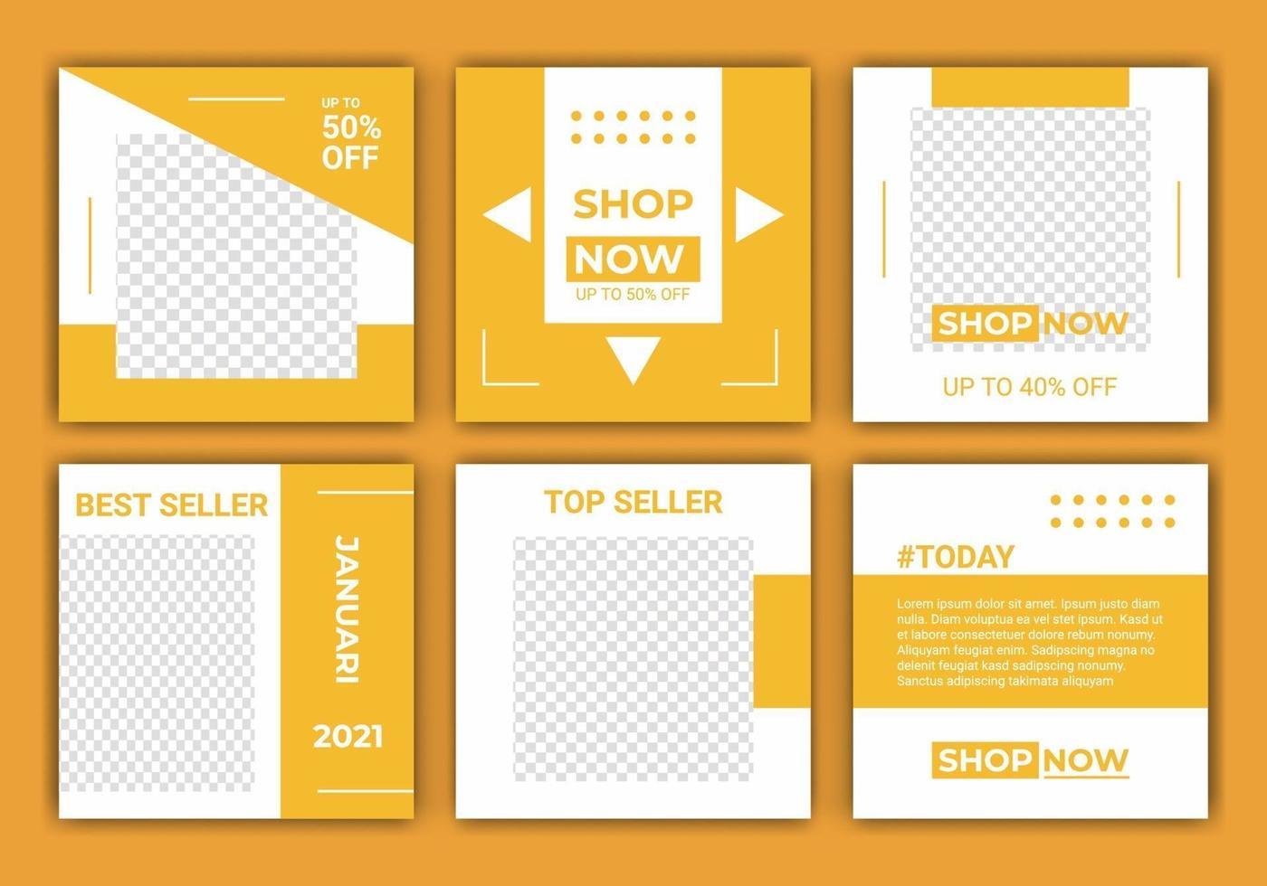 uppsättning redigerbar minimal fyrkantig bannermatningsmall. gul och vit bakgrundsfärgformvektor. lämplig för inlägg på sociala medier, webbinternetannonser och rabatterade annonser för modeförsäljning vektor