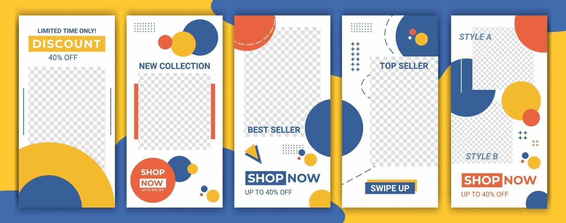 design för sociala medier. trendig redigerbar mall för sociala nätverk berättelser ram. uppsättning mockup för fb-berättelser. vektor layout design för mode, kosmetika, evenemang eller marknadsföring
