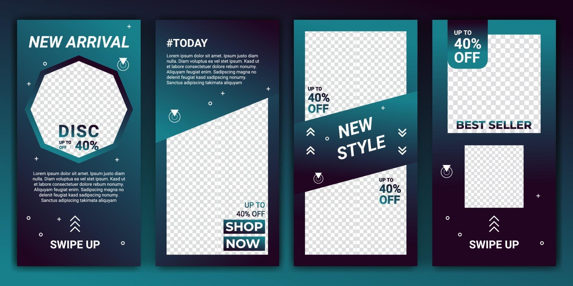 uppsättning sociala medier nätverk berättelser försäljning banner bakgrund med kreativ tonad färgad. redigerbar mall design för ig berättelse, ig ram, affisch, kupong, presentkort. vektor illustration