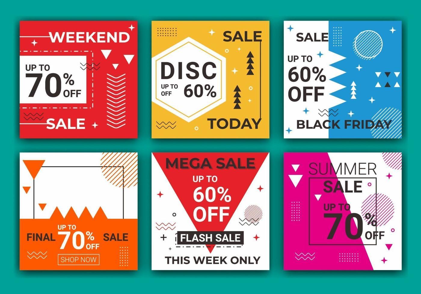 uppsättning försäljning banner mall design. redigerbar minimal kvadrat för marknadsföring och digital marknadsföring med röd, orange, lila och blå ny färg. trendig bakgrundsdesign för ig-annonser. vektor illustration