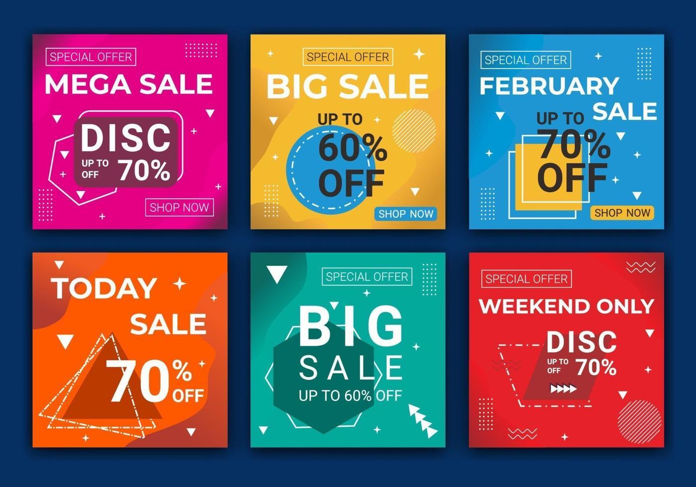 sociala medier annonser fyrkantig post mall bunt. modeförsäljning för webb-feed-postmall, redigerbara bakgrunder i minimal stil med flerfärgad. kreativ vektor enkel modern försäljningsförsäljning