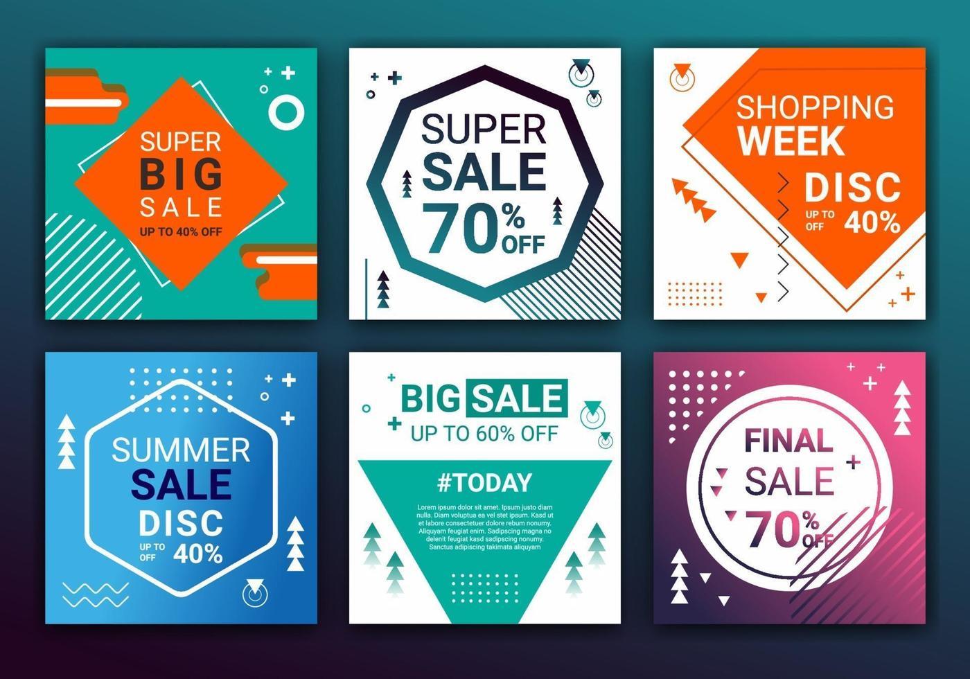 uppsättning försäljning banner mall sociala medier post, design för annonser, mall för mode försäljning, webb banner och sociala medier post design. feed post bakgrund färgglad form vektorillustration vektor