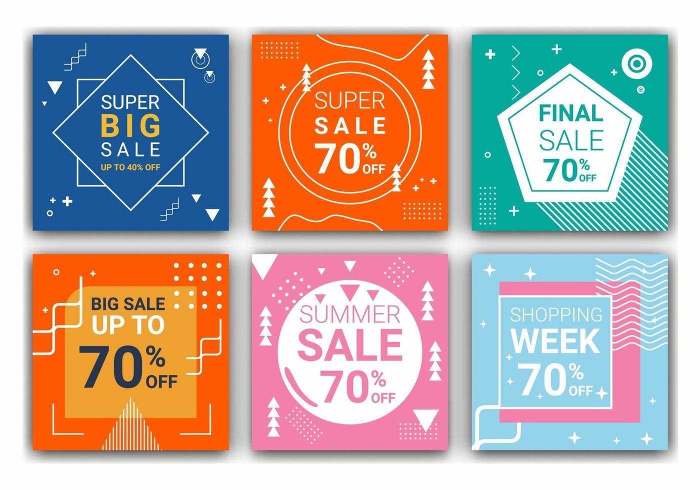 6 fyrkantiga layoutmallar för inlägg, mobilappar eller bannerdesign. PR-webbbanner för sociala medier för modeförsäljning. elegant försäljning och rabattkampanj. vektor illustration.