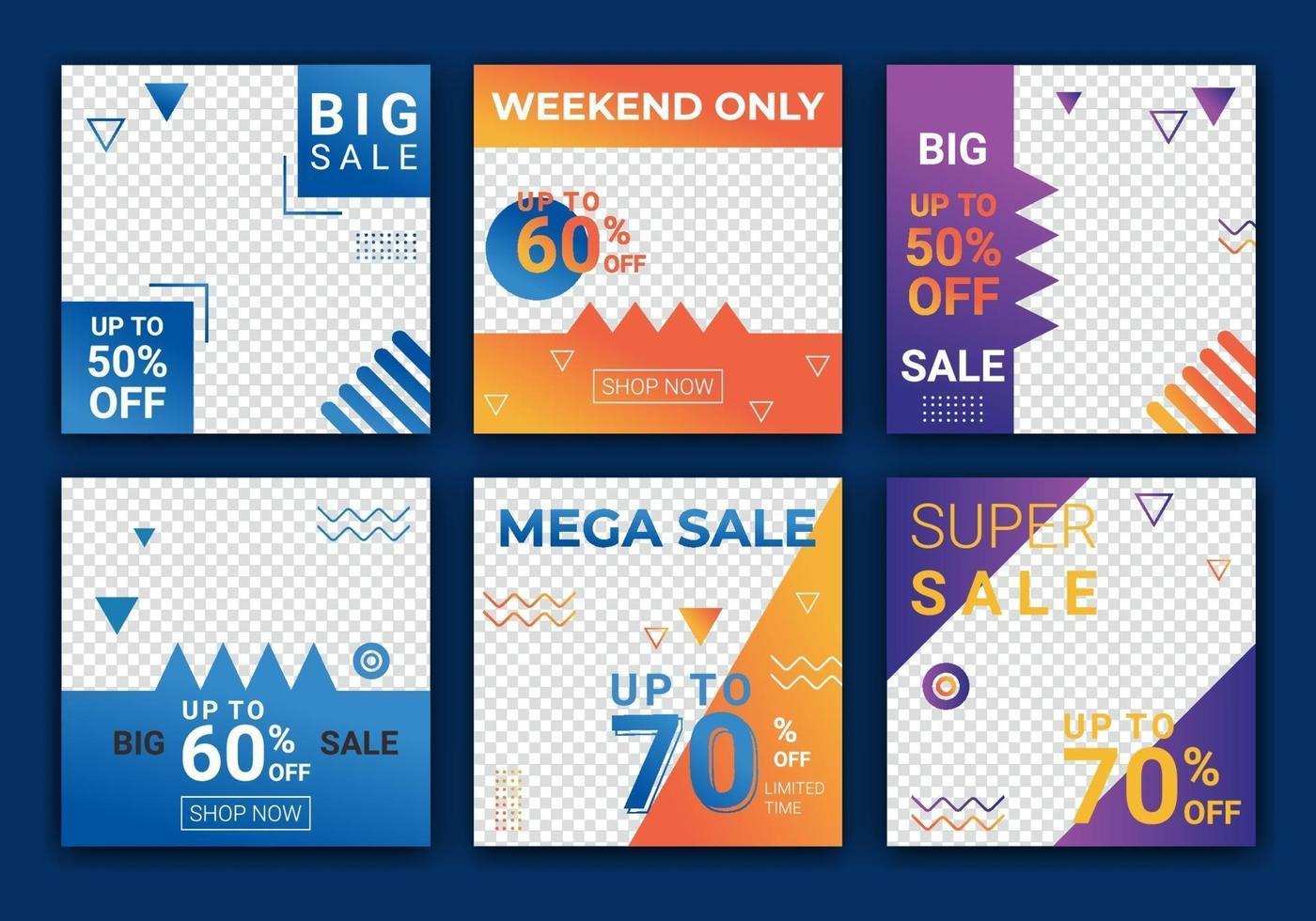 uppsättning redigerbar fyrkantig banner mall design för mode försäljning post på ig. webbbannerannonser för marknadsföringsdesign med blå, orange och lila färg. mall för försäljningsbanneradversiter. vektor illustration