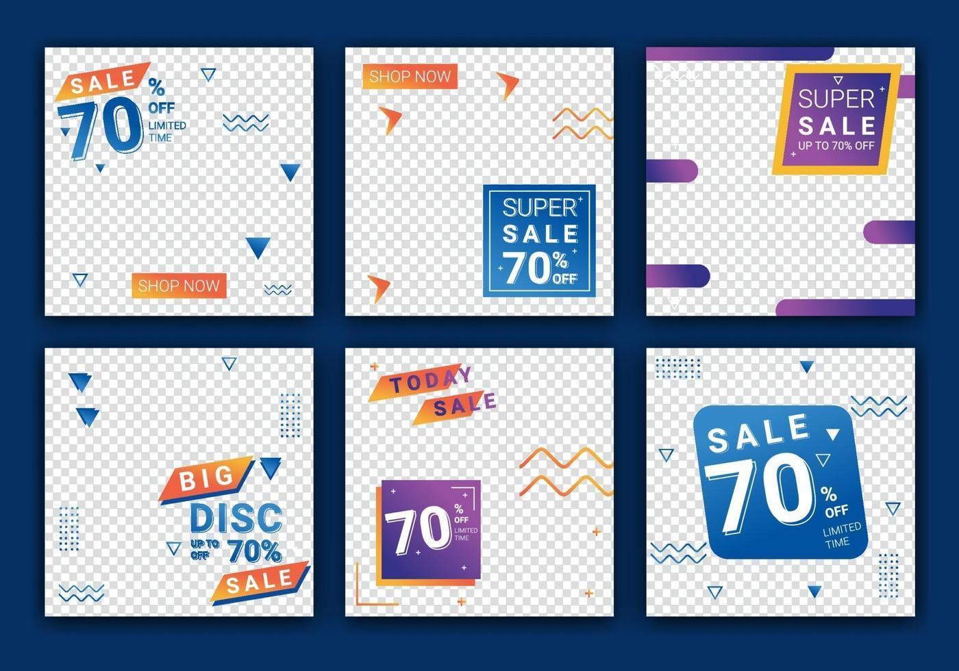 Verkaufsvorlagensammlung für Verkaufsförderung. Quadratische Banner für Social Media Post, Design für Anzeigen, Vorlage für Modeverkauf, Web- oder Internetpost und Design für Social Media Post. Vektorillustration vektor