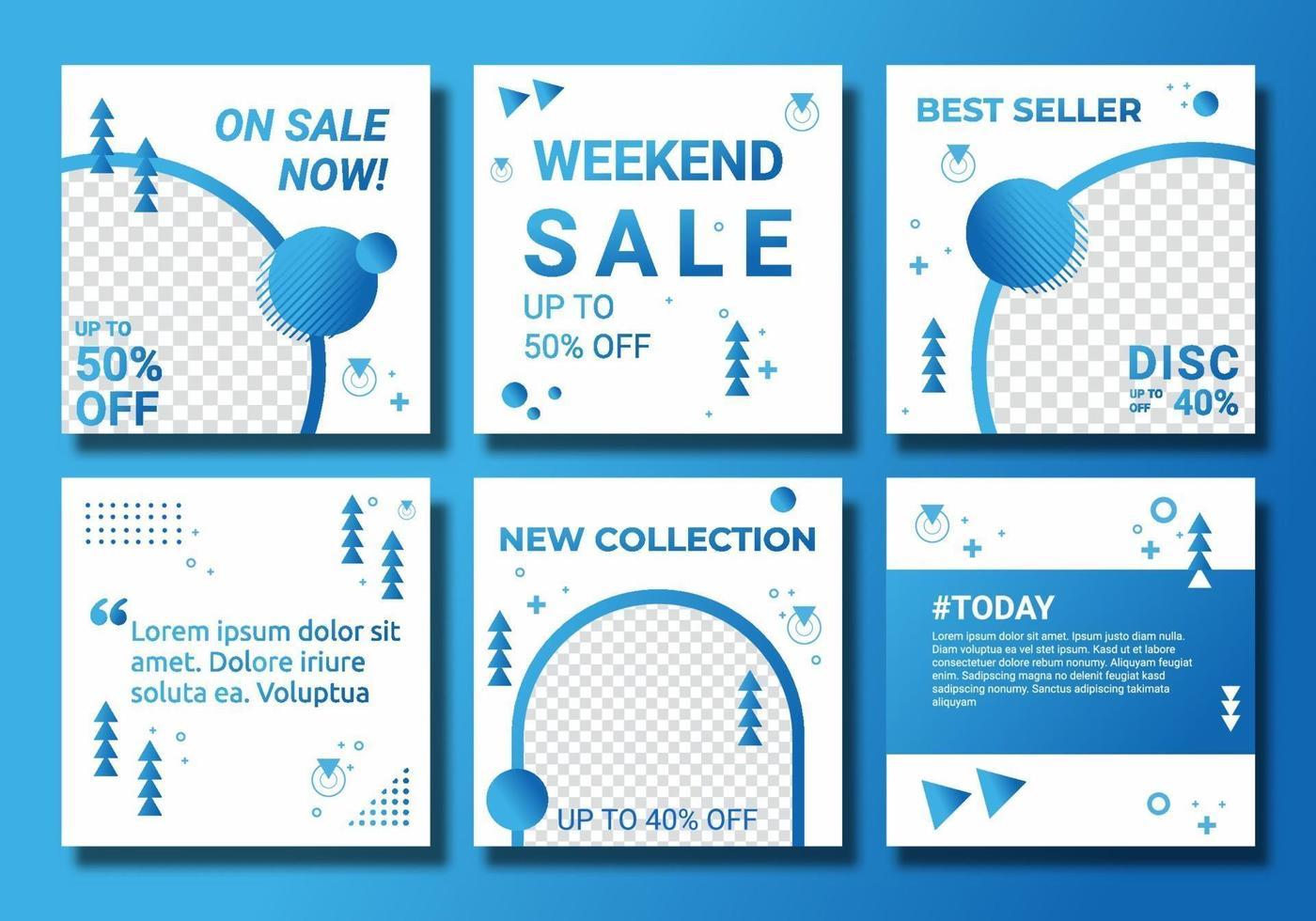 redigerbar mallpost för ig feed-postannonser. webbbannerannonser för marknadsföringsdesign med blå tonad färg. minimalistisk stil till salu din produkt. abstrakt social media design vektorillustration vektor