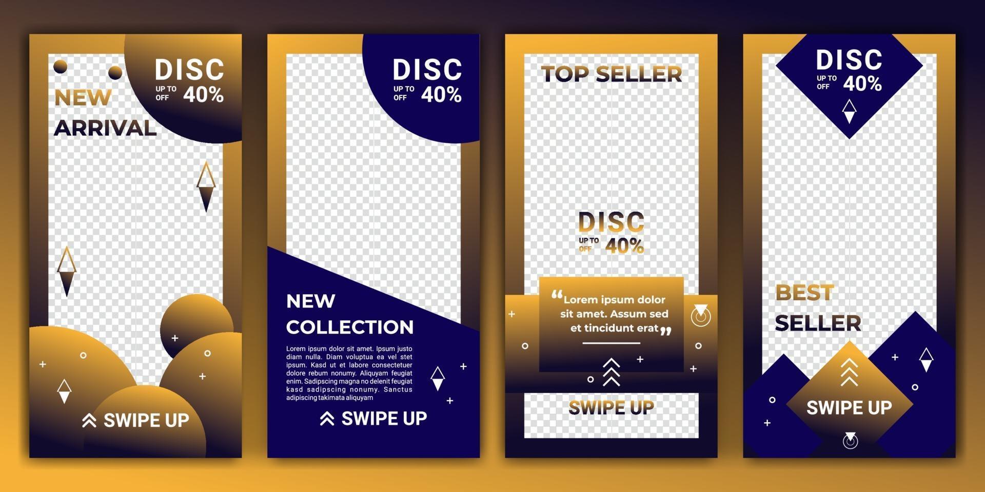 design bakgrunder för sociala medier i tonad färg guld och blått. redigerbar mall för ig-berättelser, ig-mall och webbannonser. abstrakt design för din försäljningsprodukt. vektor illustration