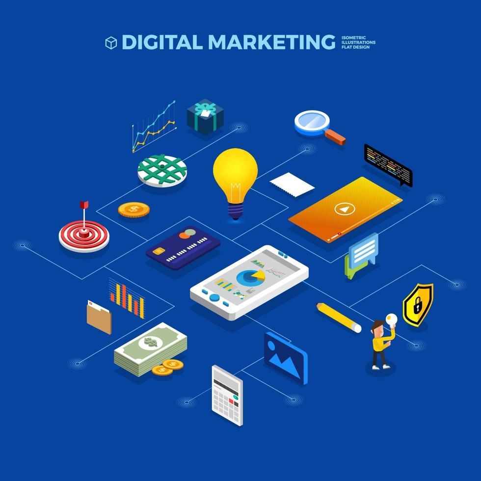 platt designkoncept isometriskt objekt som ansluter till digital marknadsföring. vektor illustrera.