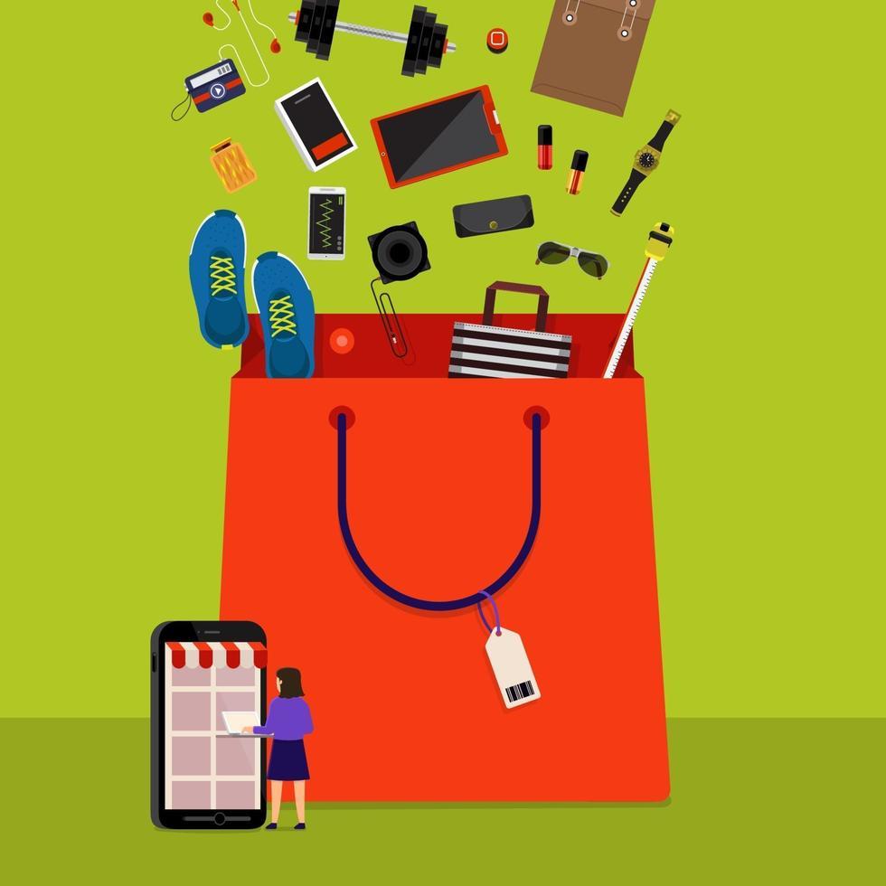 online shoppingväska vektor