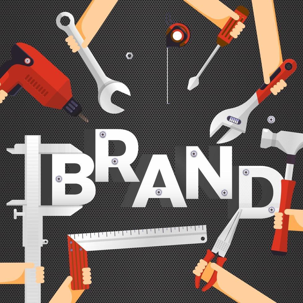 platt design koncept bygga varumärke konstruktion med affärsman på toppen som ledare. vektor illustration.