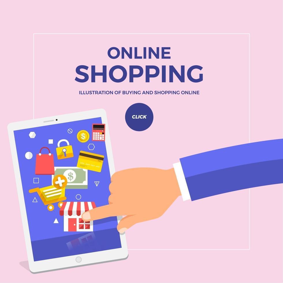 platt designkoncept shopping online med finger push mobil. vektor illustrera.
