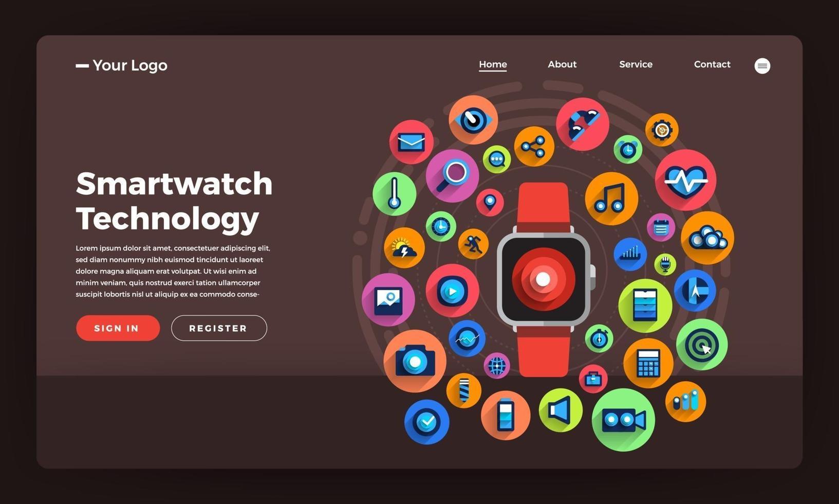 mock-up design webbplats platt designkoncept smartwatch bärbar teknik. vektor illustration.