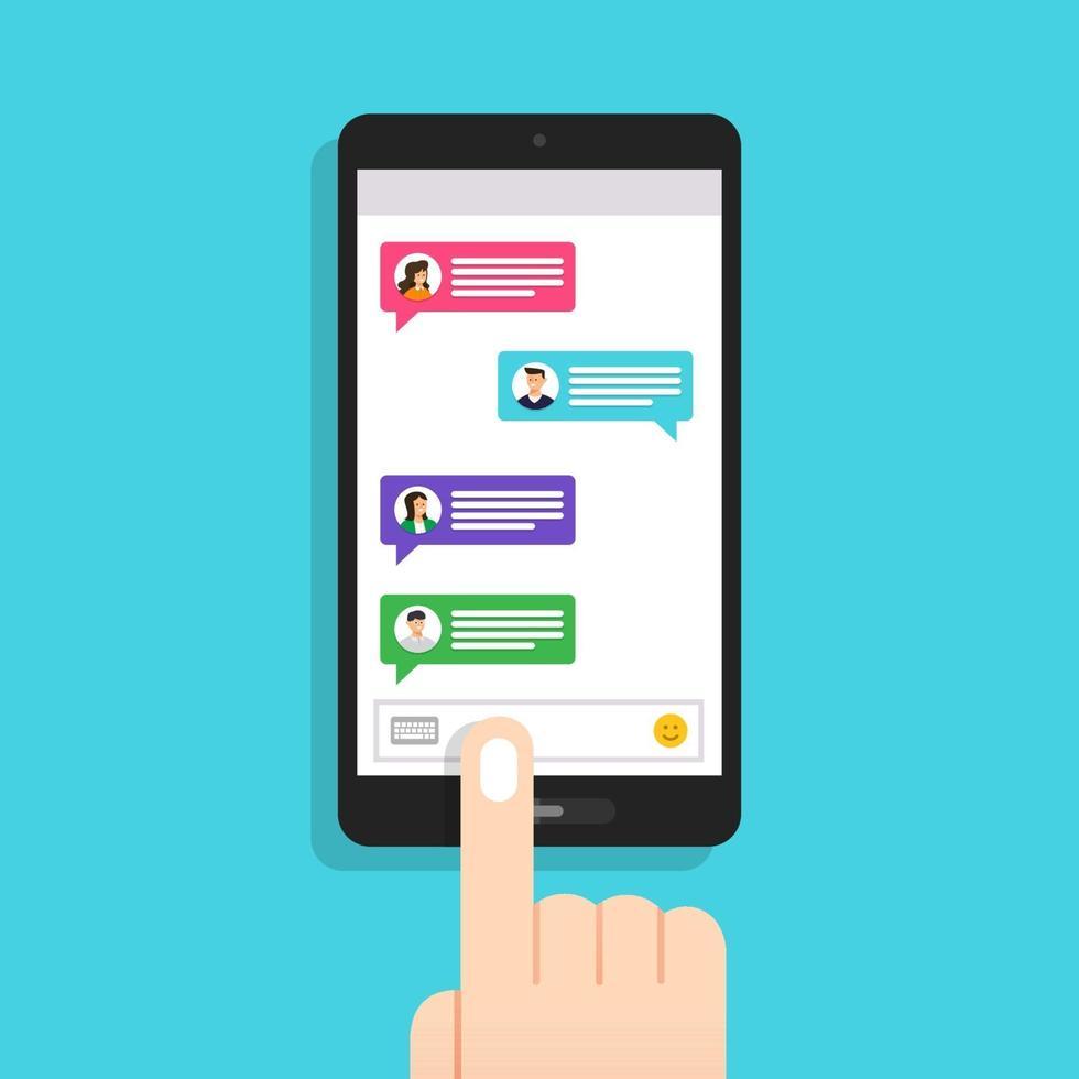 flache Design-Konzept Nachricht und Chat. vorhanden durch Symbol Textnachricht. Vektor veranschaulichen