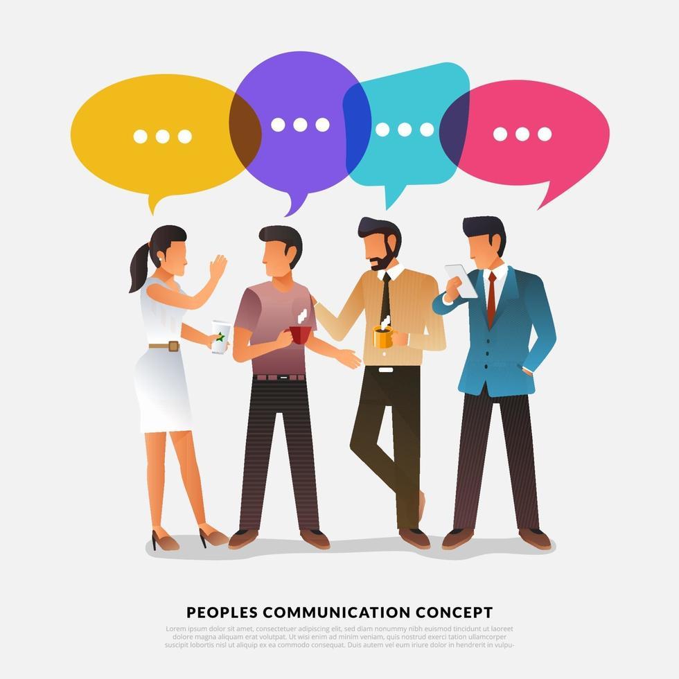 platt designkoncept folk pratar med ballongmeddelandebubblan. vektor illustrera.