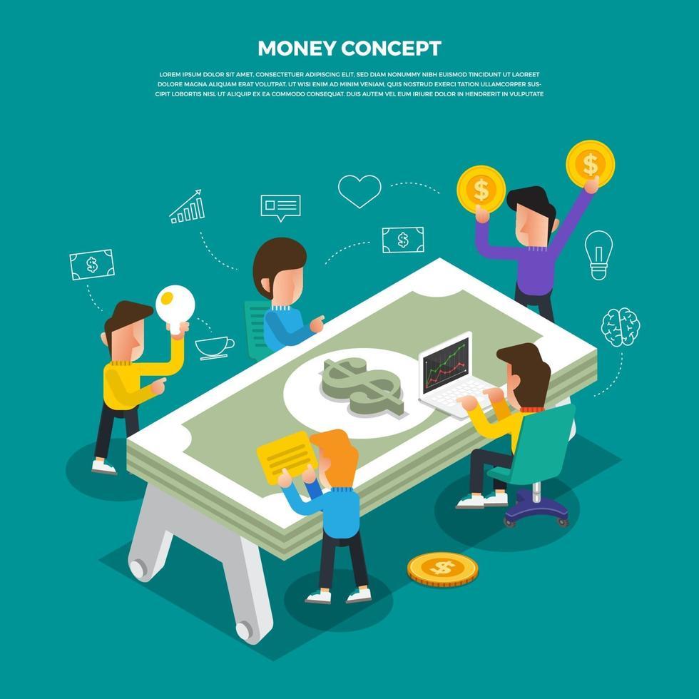 platt designkoncept brainstorm arbetar på skrivbordsikonen pengar. vektor illustrera.