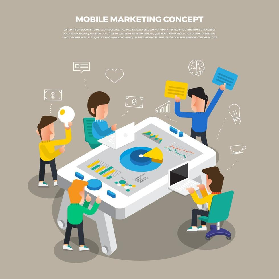 platt designkoncept brainstorm arbetar på stationär ikon mobil digital marknadsföring. vektor illustrera.