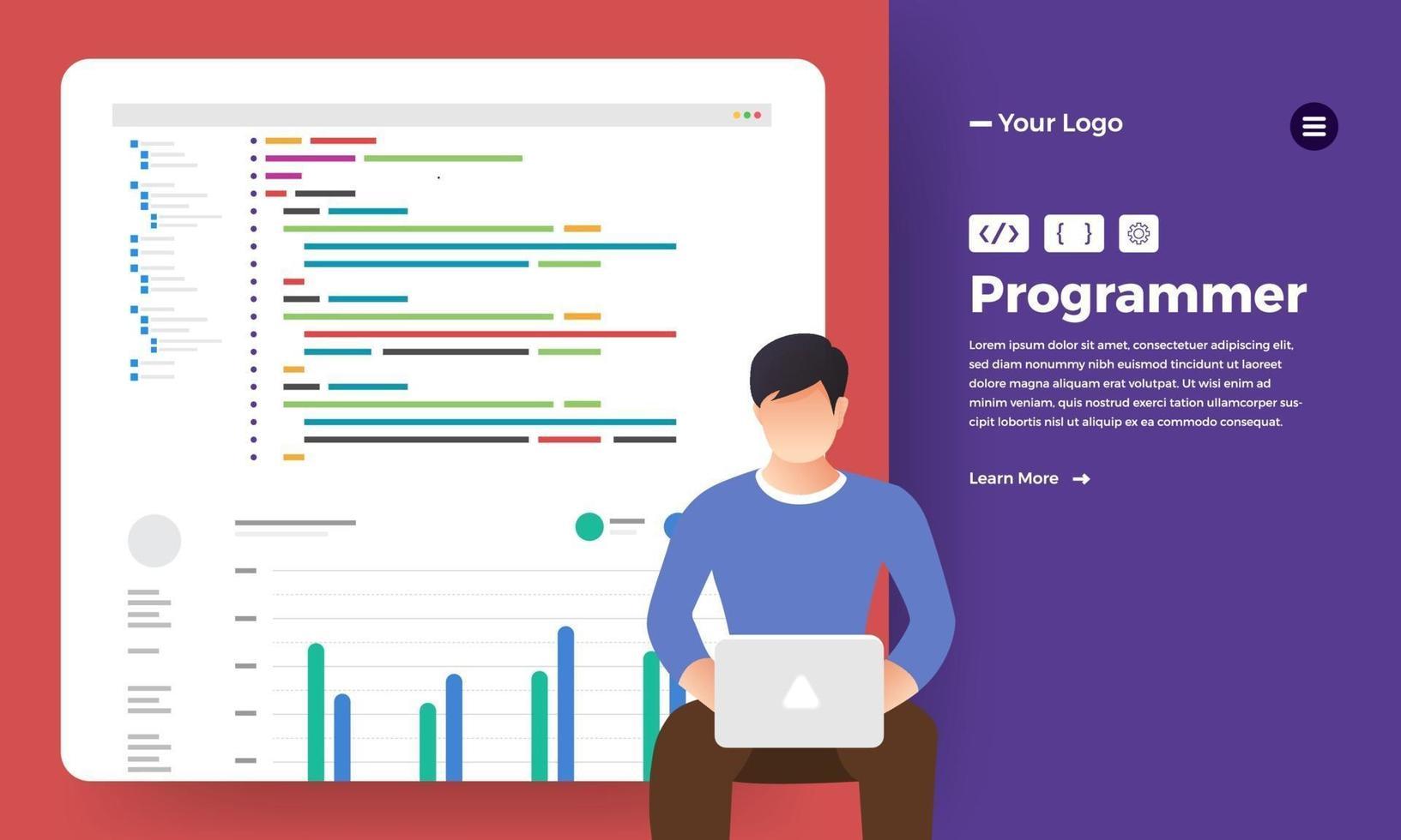 platt designkoncept programmerare kodningsprogram. vektor illustrera.