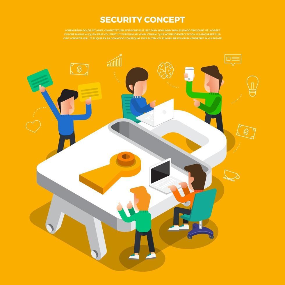 platt designkoncept brainstorm arbetar på skrivbordsikonsäkerhet. vektor illustrera.