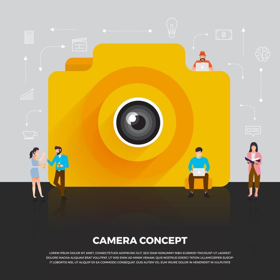 platt design koncept kamera mobil. grupp människor utvecklar ikon kamera mobil enhet. vektor illustrera.